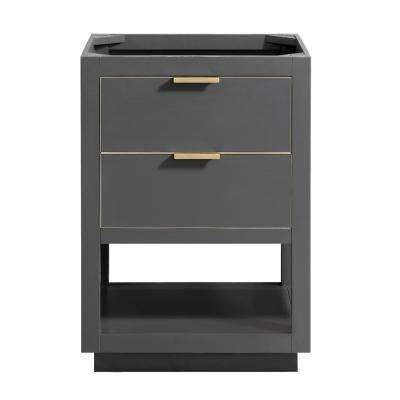 Allie 24 in. W x 21.5 in. D x 34 in. H Bath Vanity Cabinet Only in Twilight Gray with Gold Trim