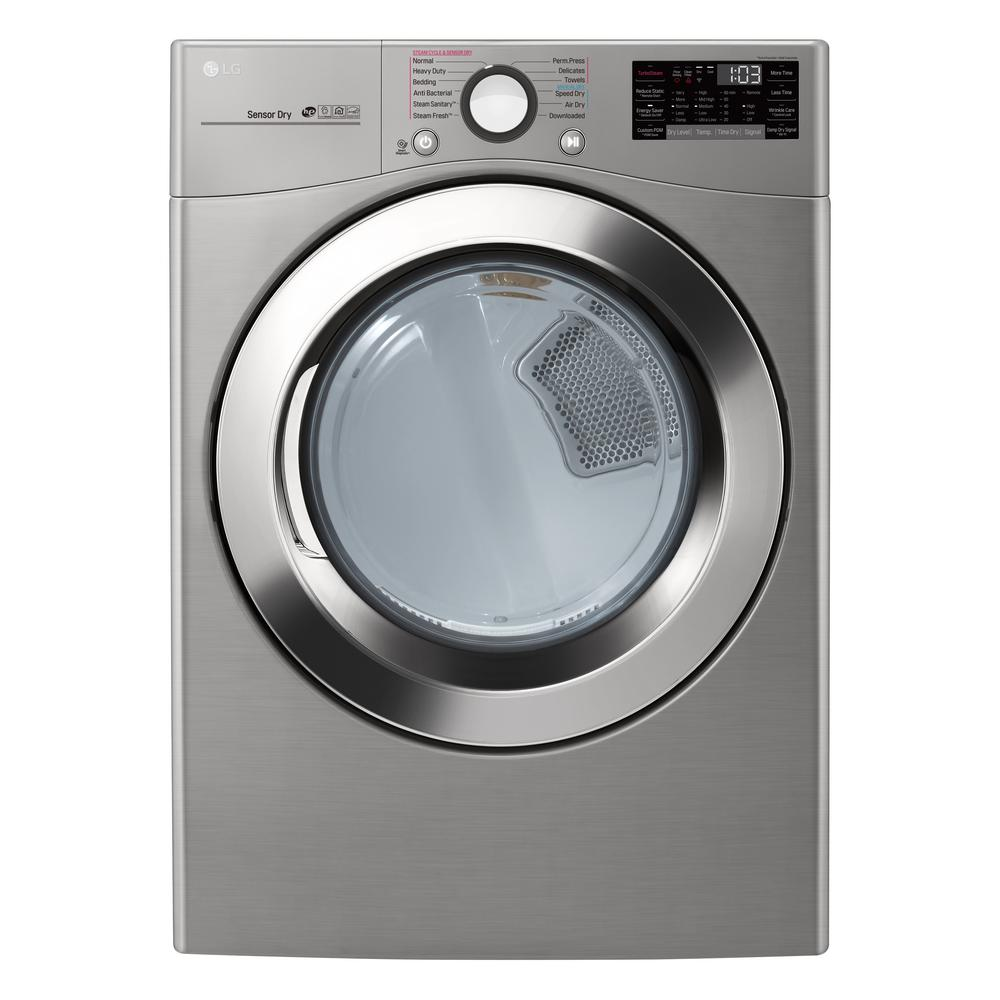 LG Electronics 7.4 cu.ft. Ultra Large Capacity Electric Dryer with Sensor Dry, Turbo Steam and Wi-Fi Connectivity in Graphite Steel