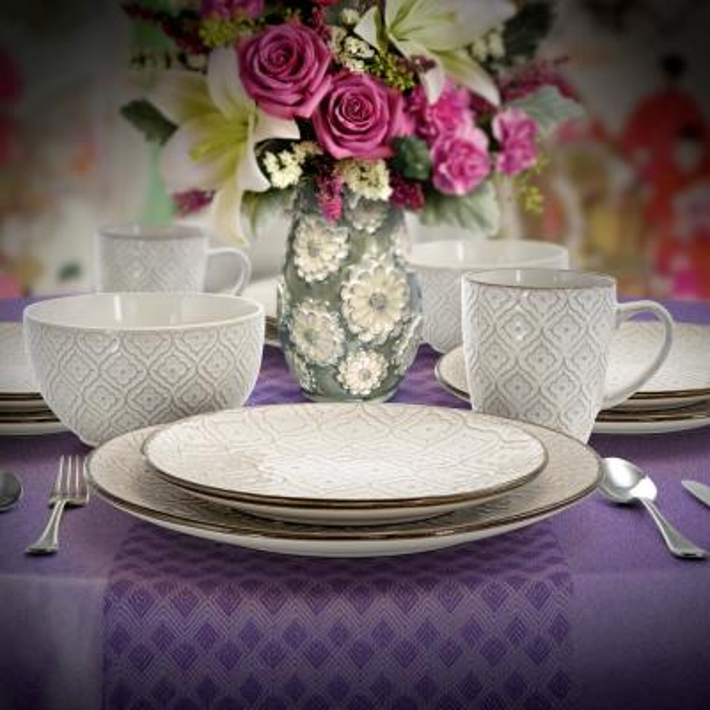 White Lily 16-Piece Classic White Stoneware Dinnerware Set (Service for 4)
