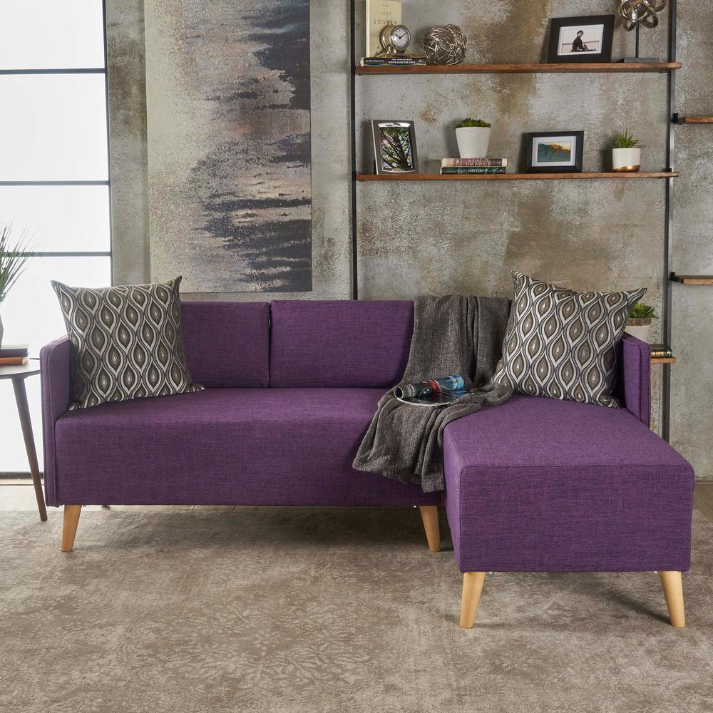 Noble House 2-Piece Muted Purple Fabric Chaise Sectional