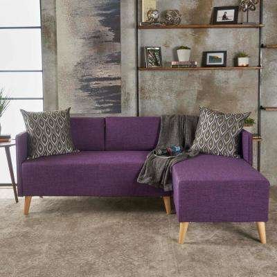 2-Piece Muted Purple Fabric Chaise Sectional