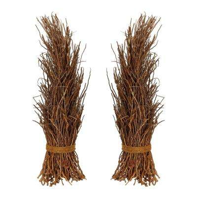 Natural Finished Decorative Coco Twig Sheaf (2-Pack)