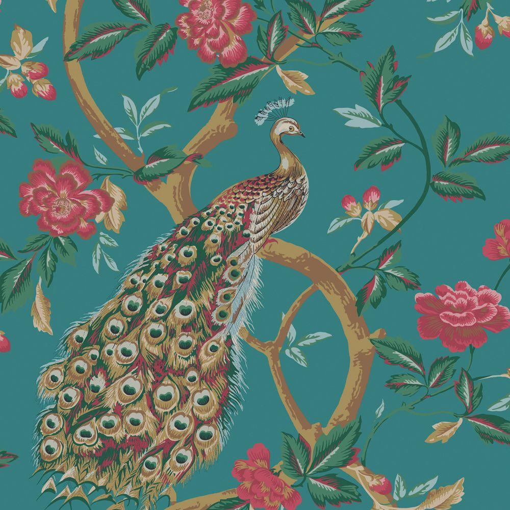 The Wallpaper Company 56 sq. ft. Peacock Peacocks and Vines Wallpaper