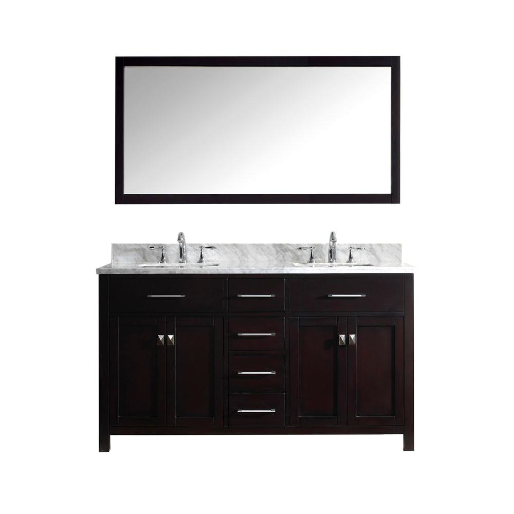Caroline 60 in. Double Square Basin Vanity in Espresso with Marble