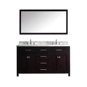 Virtu USA Caroline 60 inch Double Square Basin Vanity in Espresso with Marble Vanity Top in Italian Carrera White and... by Virtu USA