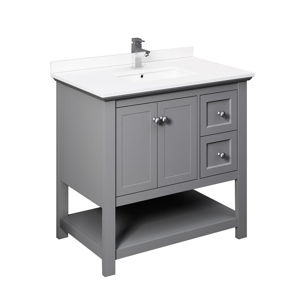 Fresca Manchester 36 in. W Bathroom Vanity in Gray with Ceramic Vanity Top in White with White Basin