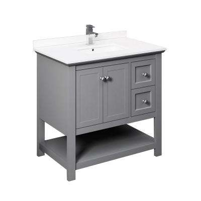 Manchester 36 in. W Bathroom Vanity in Gray with Ceramic Vanity Top in White with White Basin