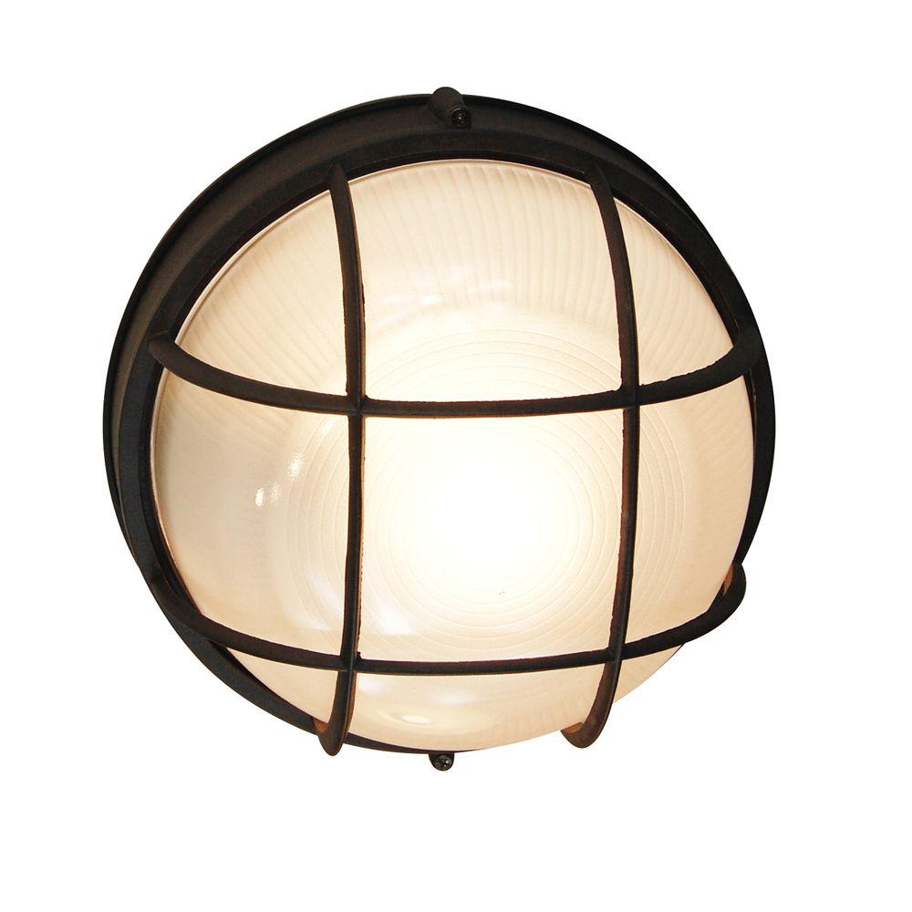Bel Air Lighting Bulkhead 1 Light Outdoor Black Wall Or Ceiling Mounted Fixture With Frosted Gl