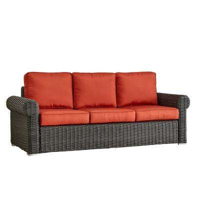 Camari Charcoal Rolled Arm Wicker Outdoor Sofa with Red Cushion