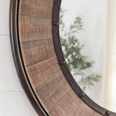 Medium Round Farmhouse Accent Mirror with Wood Finish (31 in. Diameter)
