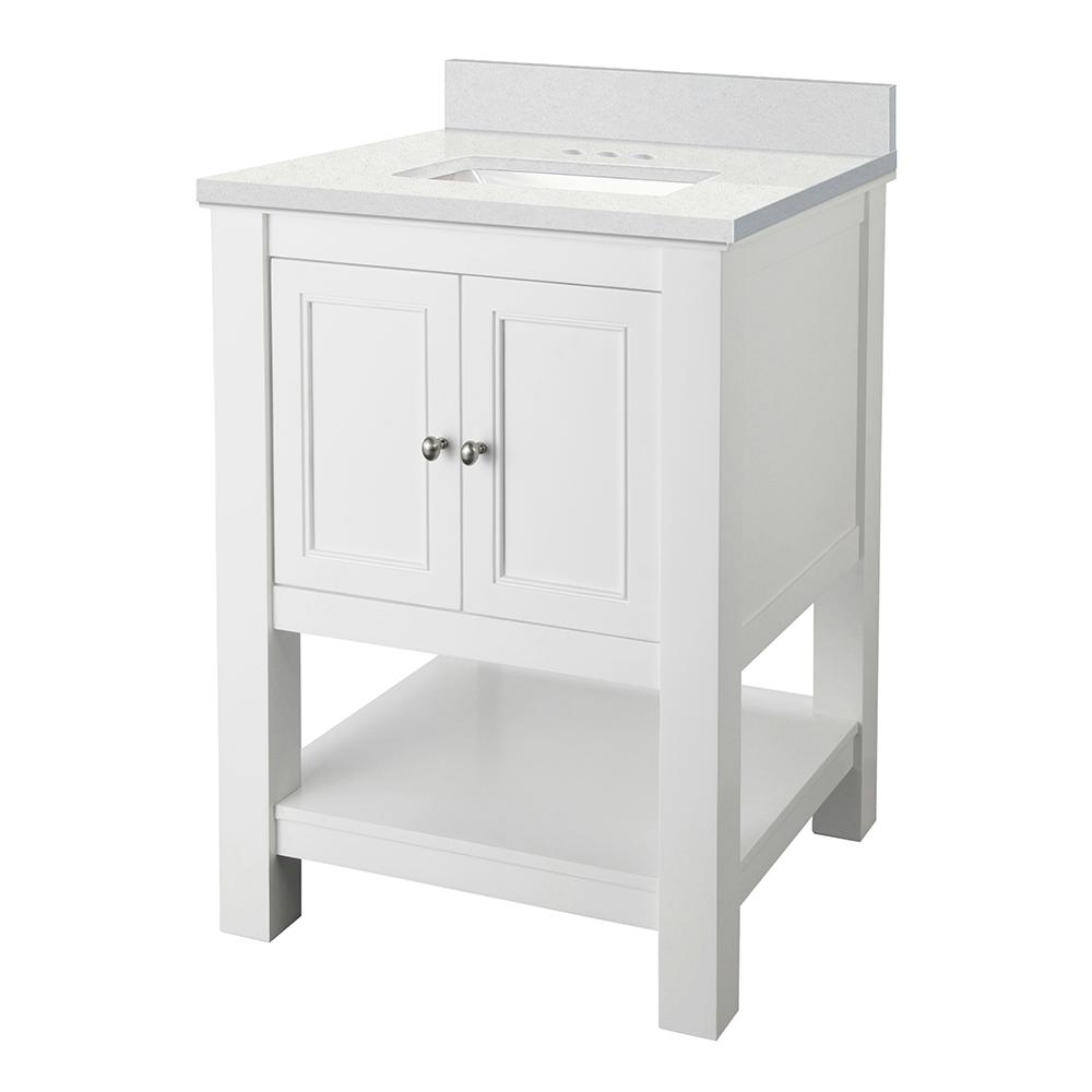 Home Decorators Collection Gazette 25 in. W x 22 in. D Vanity Cabinet in White with Engineered Marble Vanity Top in Snowstorm with White Sink