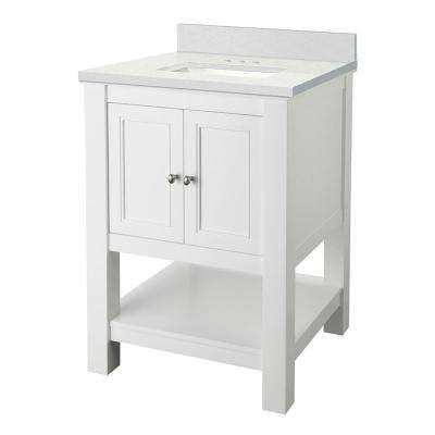 Gazette 25 in. W x 22 in. D Vanity Cabinet in White with Engineered Marble Vanity Top in Snowstorm with White Sink