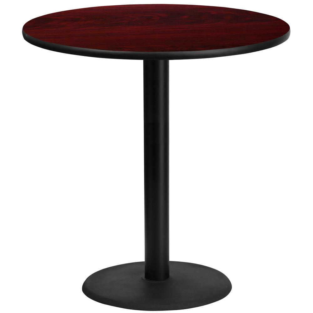 Round Mahogany Laminate Table Top With 24 In. Round Bar