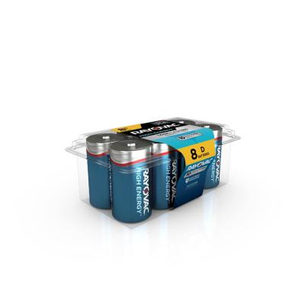 High Energy Alkaline D/1.5 Volt Battery (8-Pack)