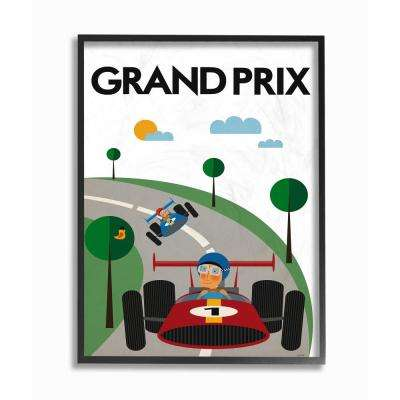 "11 in. x 14 in. ""Green Orange Blue and Red Grand Prix Minimal Mod Race Cars"" by Tomas Design Framed Wall Art"