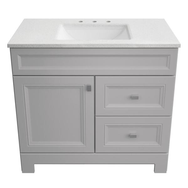 Home Decorators Collection Sedgewood 36 1 2 In Configurable Bath Vanity In Dove Gray With Solid Surface Top In Arctic With White Sink Pplnkdvr36d The Home Depot