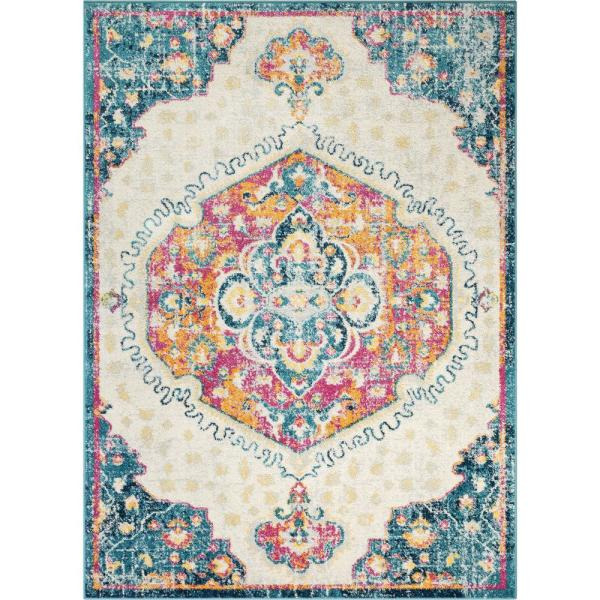 Well Woven Sydney Branna Fuchsia Vintage Bohemian Medallion 5 Ft 3 In X 7 Ft 3 In Distressed Area Rug 27505 The Home Depot