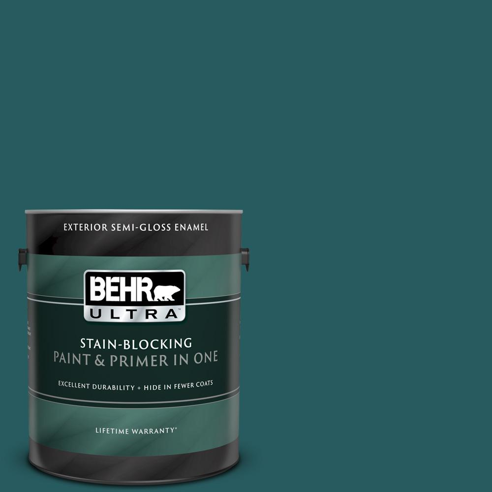 BEHR ULTRA 1 gal  #S-H-500 Realm Semi-Gloss Enamel Exterior Paint and  Primer in One