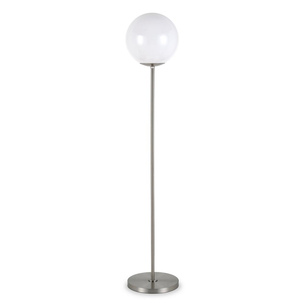 Hudson&Canal Theia 62.63 in. Brushed Nickel Globe and Stem Floor Lamp