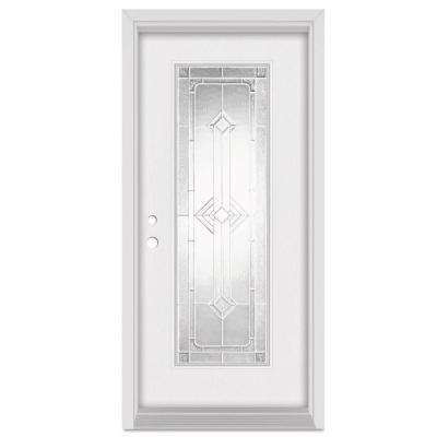 33.375 in. x 83 in. Neo-Deco Right-Hand Zinc Finished Fiberglass Mahogany Woodgrain Prehung Front Door Brickmould