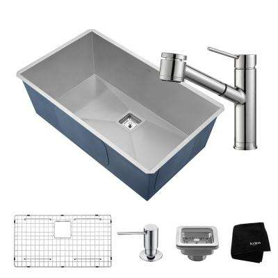 Pax All-in-One Undermount Stainless Steel 32 in. Single Bowl Kitchen Sink with Faucet in Chrome