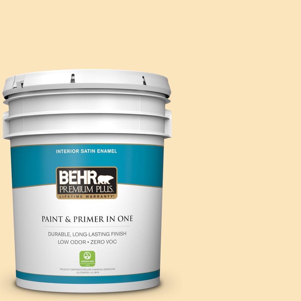 BEHR Premium Plus 5-gal. #350C-2 Banana Cream Zero VOC Satin Enamel Interior Paint