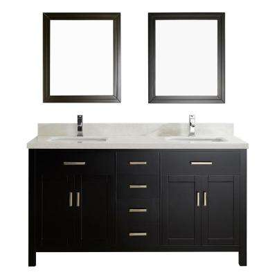 Kalize II 63 in. W x 22 in. D Vanity in Espresso with Engineered Vanity Top in White with White Basin and Mirror