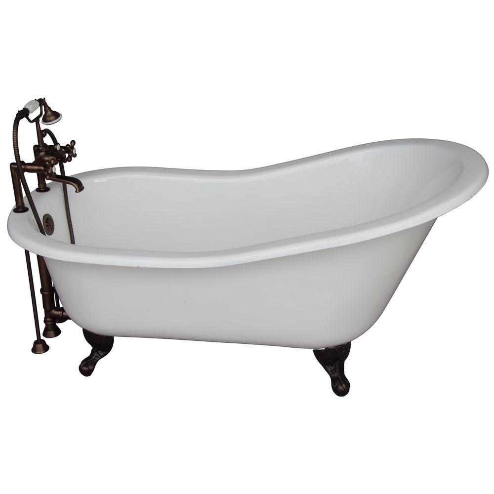 Barclay Products 5.6 ft. Cast Iron Ball and Claw Feet Slipper Tub Kit in White with Oil Rubbed Bronze Accessories