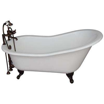 tub fillers for freestanding tubs. Cast Iron Ball and Claw Feet Slipper Tub Kit in White with Oil filler  Freestanding Bathtubs The Home Depot