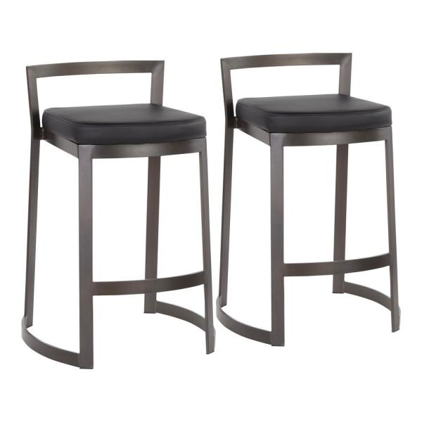 Lumisource Fuji DLX 28 in. Antique Counter Stool with Black Faux