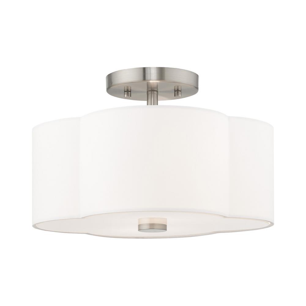 Livex Lighting Chelsea 2-Light Brushed Nickel Semi-Flushmount Light