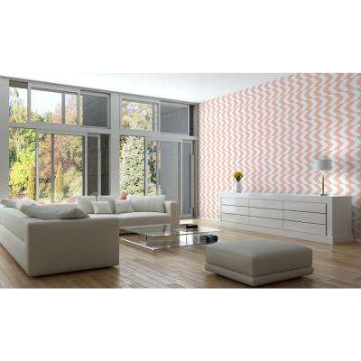 Art in Chaos Collection This Way in Bleached Coral Removable and Repositionable Wallpaper