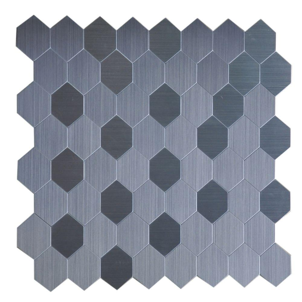 Instant Mosaic Peel and Stick Metal Wall Tile - 2 in. x 6 in. Tile ...