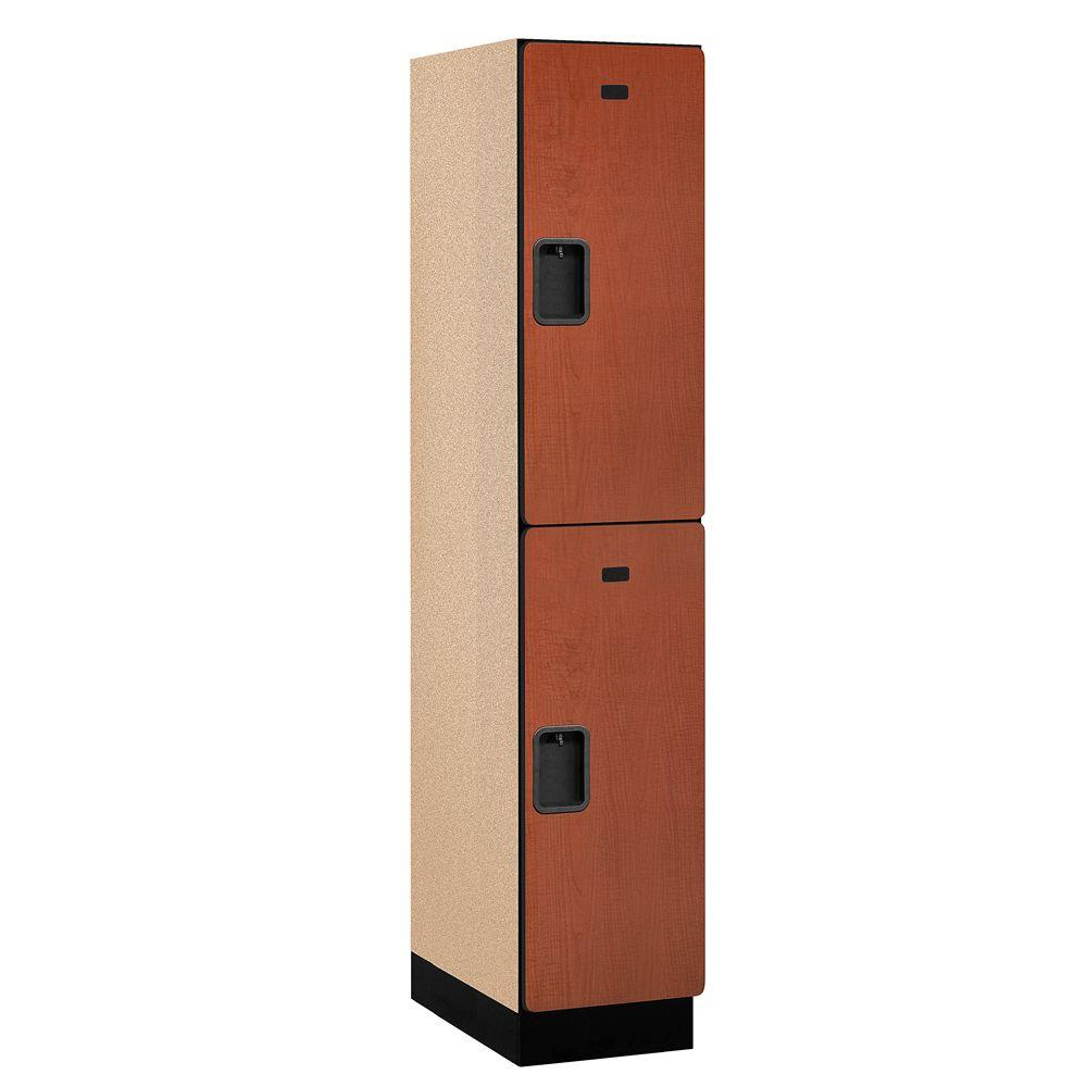 Salsbury Industries 22000 Series 2-Tier Wood Extra Wide Designer Locker in Cherry - 15 in. W x 76 in. H x 21 in. D