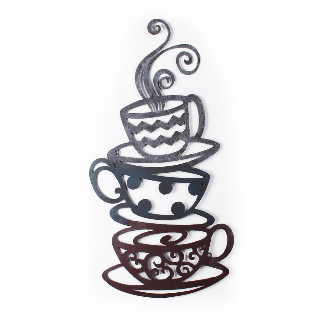 24 in. x 31 in. Coffee Tea Cups Metal Wall Decor