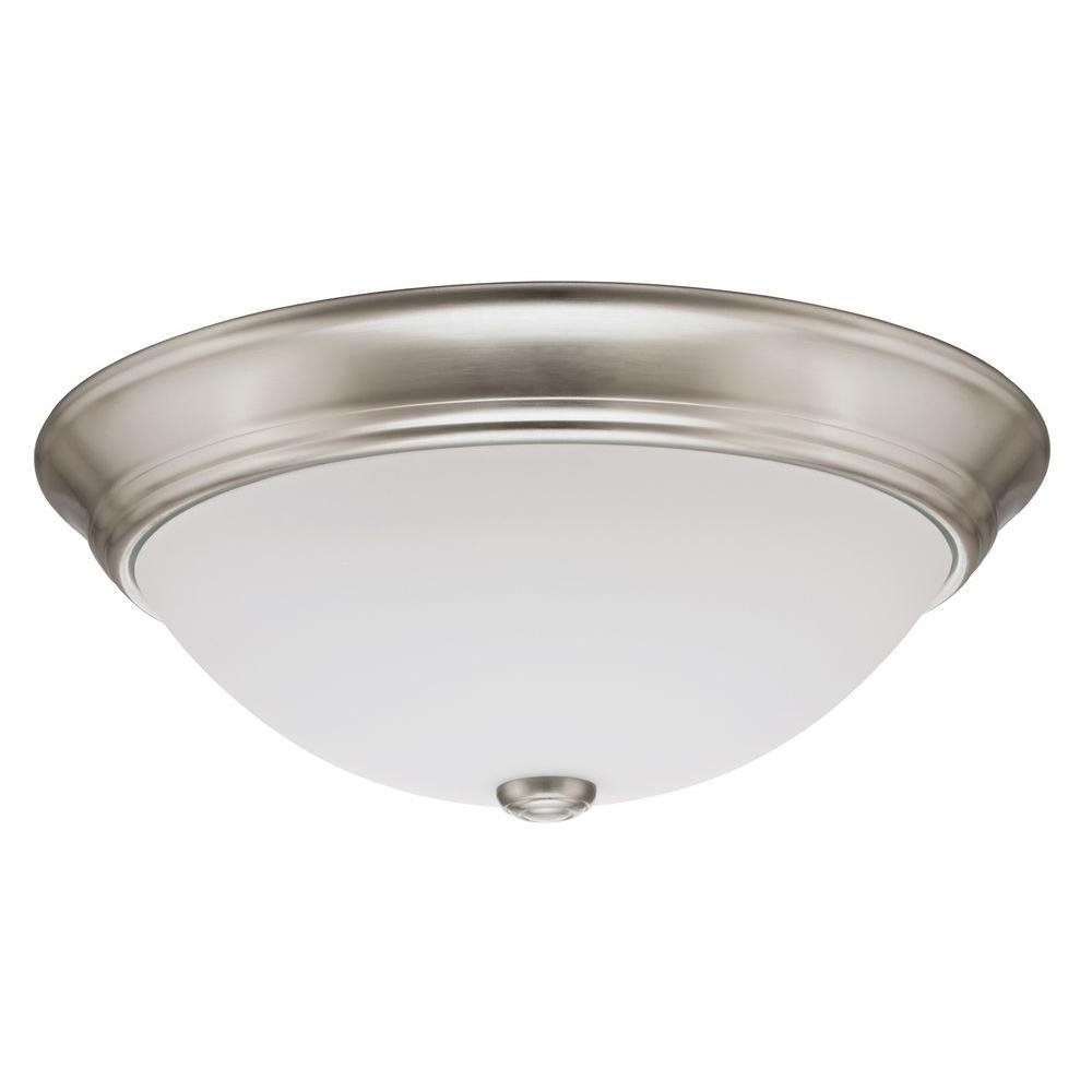 Lithonia Lighting Essentials 10 in. Brushed Nickel LED De...