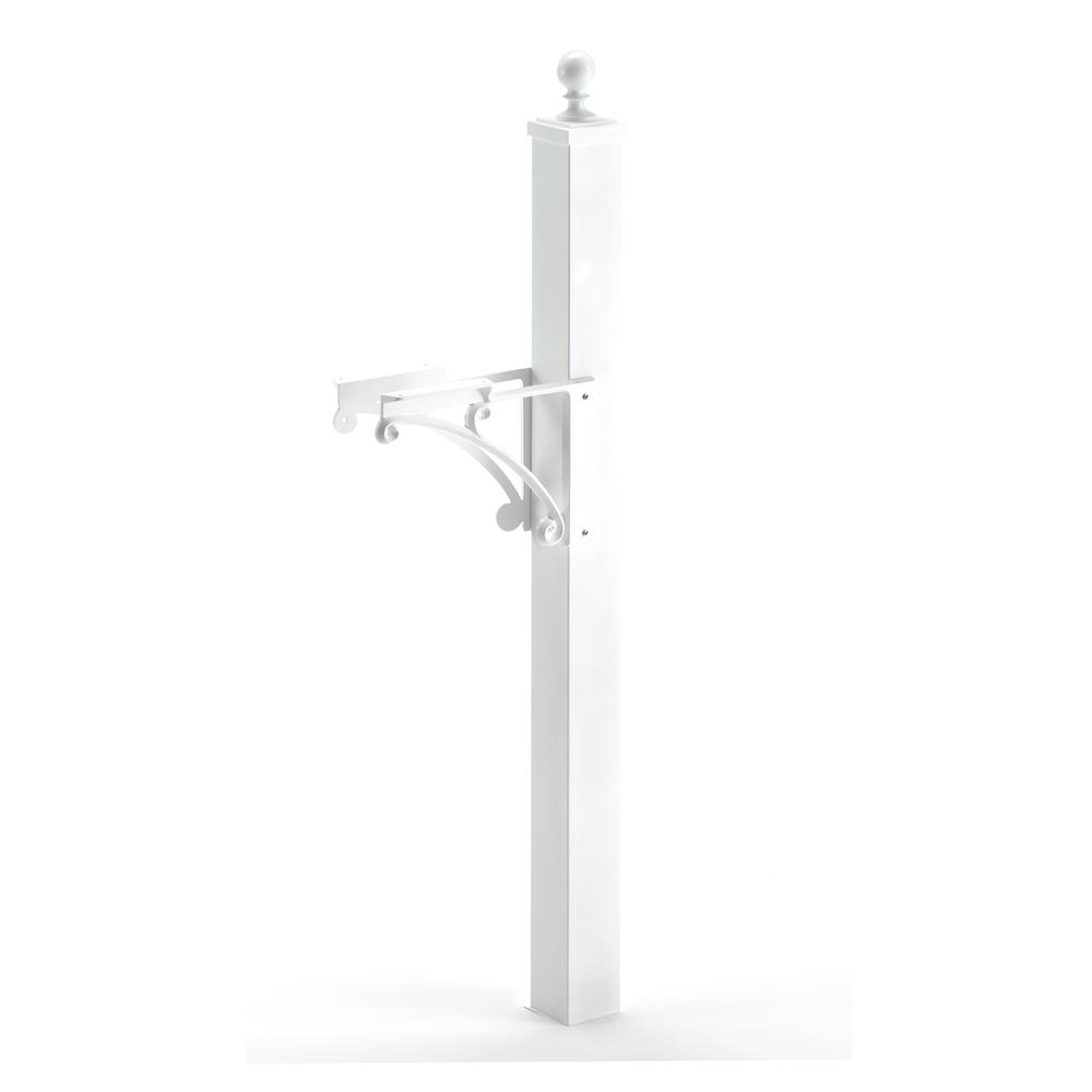 Whitehall Products Deluxe Mailbox Post and Brackets in White