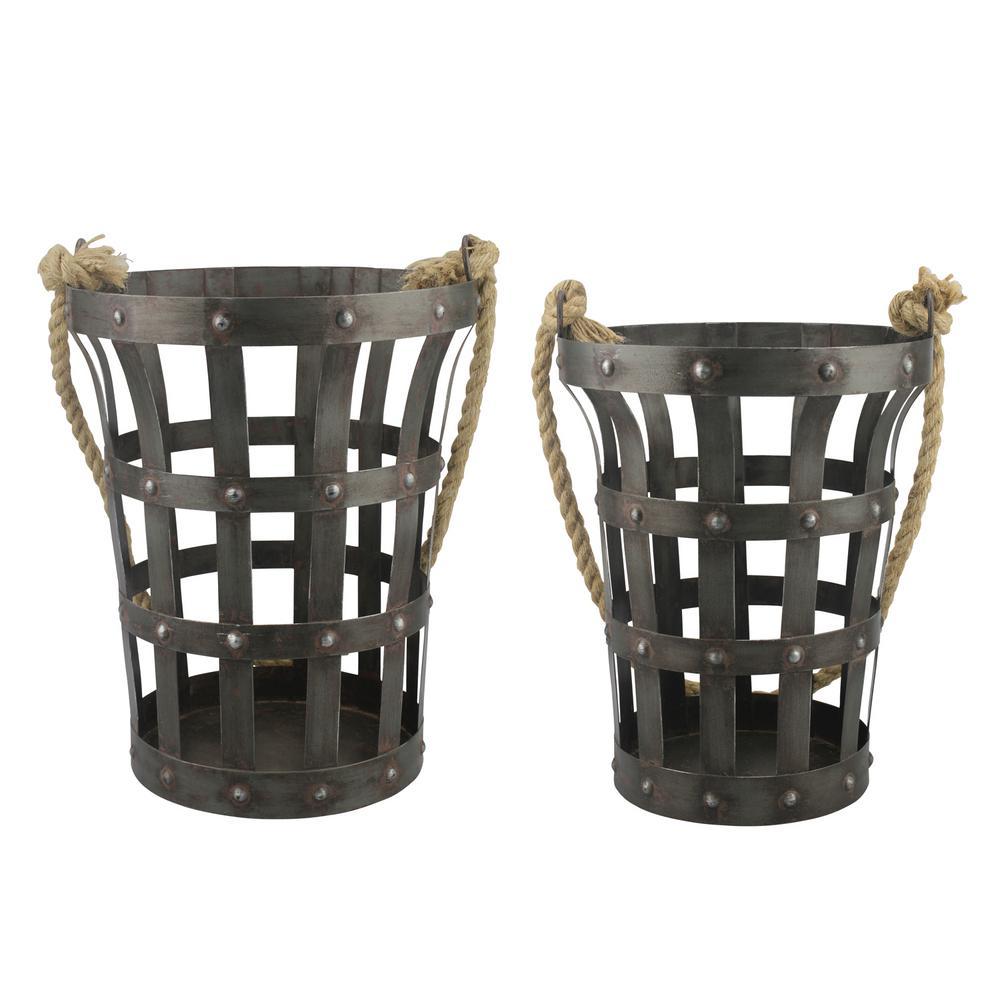 10 in. x 13 in. Rustic Metal Baskets (Set of 2)