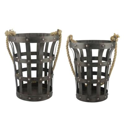 10 in. x 13 in. Rustic Metal Baskets (Set of 2)