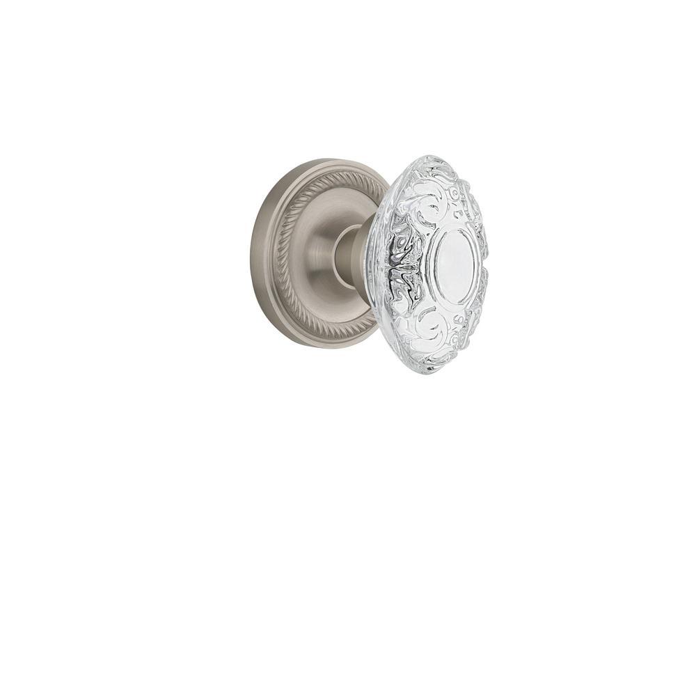Antique Satin Nickel Victorian Glass Knob Passage Set Crystal Door Handle 2 in