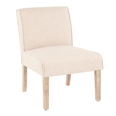 Vintage Neo White Washed Wood and Beige Upholstery Accent Chair