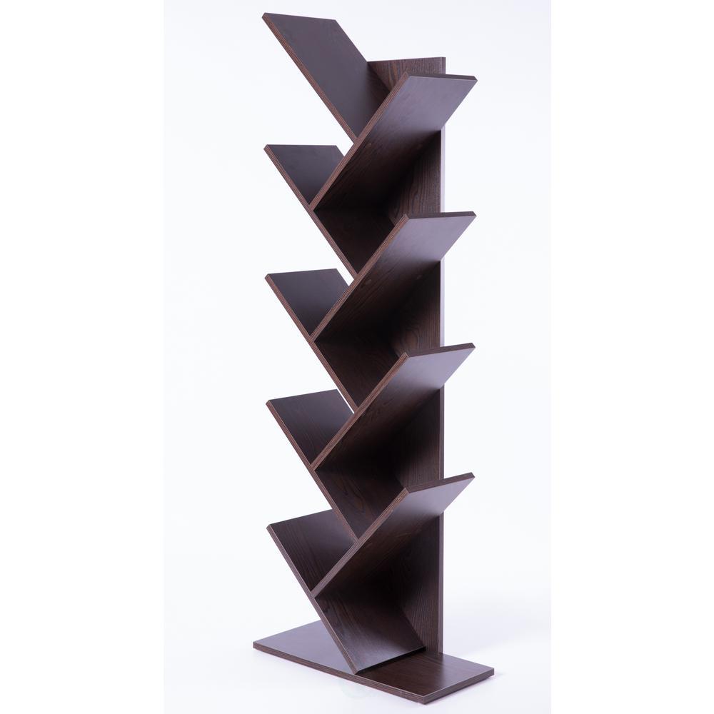 Basicwise Wooden Brown 9-Shelf Tree Magazine CD Storage Bookcase QI003457.B