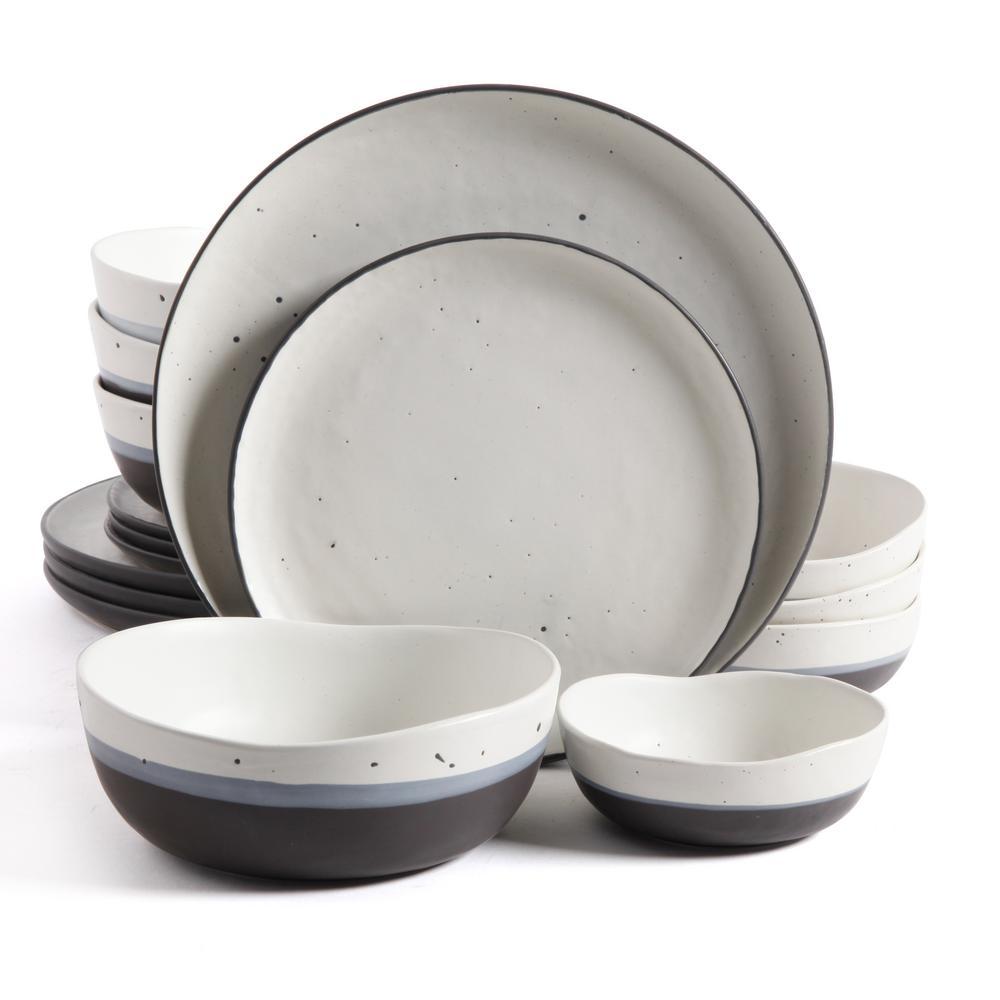 Rhinebeck 16-Piece Cream and Grey Reactive Glaze Dinnerware Set