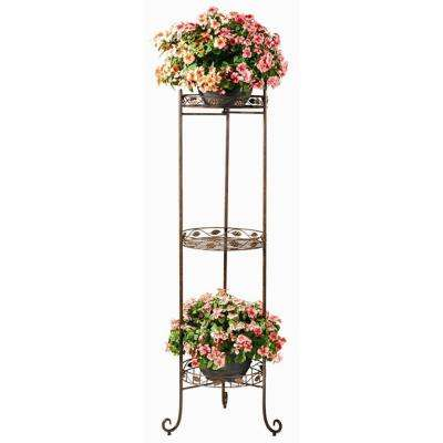 15 in. W x 15 in. D x 60 in. H Vine and Leaf Design Planter Shelf (3- Tier)