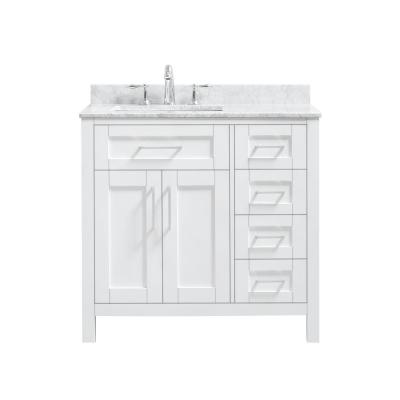 Tahoe 36 in. W x 21 in. D Single Sink Vanity in White with Carrara Marble Vanity Top in White with White Basin