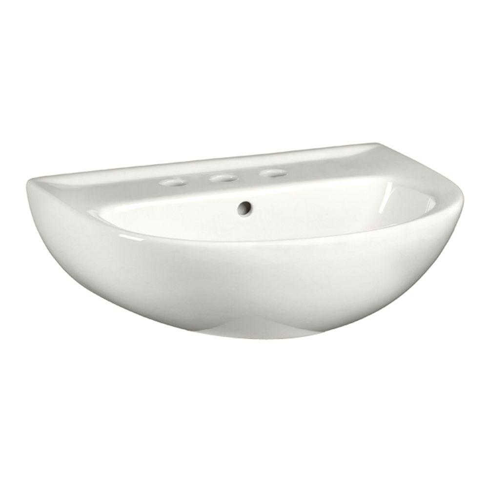 American Standard Evolution 5-1/2 in. Pedestal Sink Basin with 8 in. Faucet Centers in White