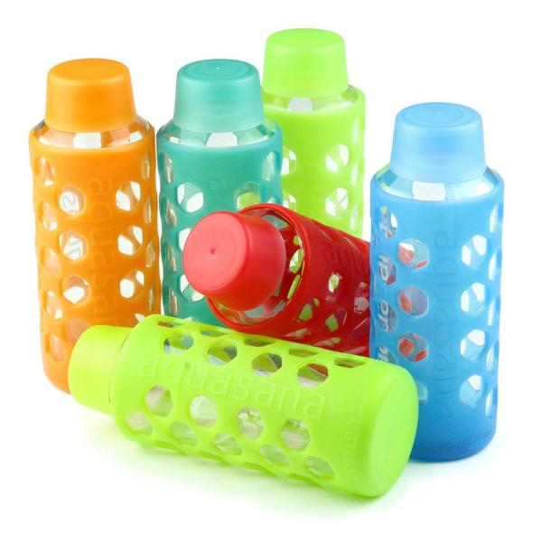 51fdc737a4 Glass Water Bottles with Silicone Sleeves and Caps (6-Pack). by Aquasana