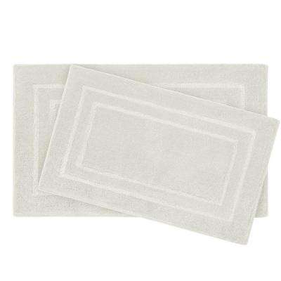 Pearl Double Border Cream Puff 2-Piece Bath Mat Set