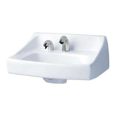 Commercial 21 in. Wall-Mount Bathroom Sink with Single Faucet Hole and Soap Dispenser Hole in Cotton White