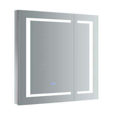 Spazio 30 in. W x 30 in. H Recessed or Surface Mount Medicine Cabinet with LED Lighting and Mirror Defogger